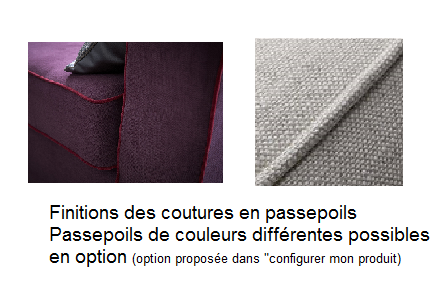 Finitions passepoils pouf tissu HARRY Home Spirit