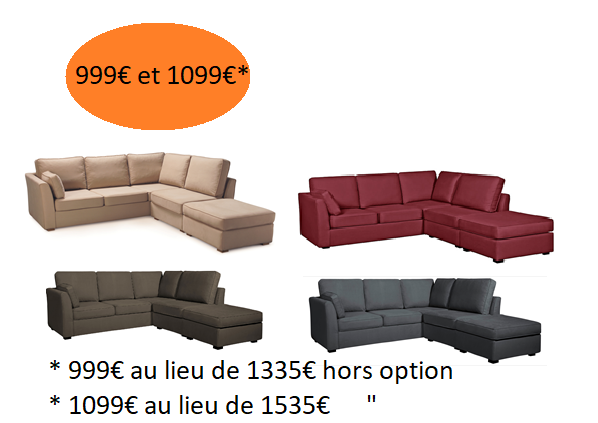 """AFFAIRE\"" SOLDE angle CHARLOTTE fixe ou convertible Home Spirit"