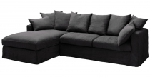 Canapé d\'angle 100% lin BALI Plumtex fixe ou convertible Home Spirit