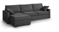 Canapé d'angle tissu gris OSMAN fixe ou convertible Home Spirit