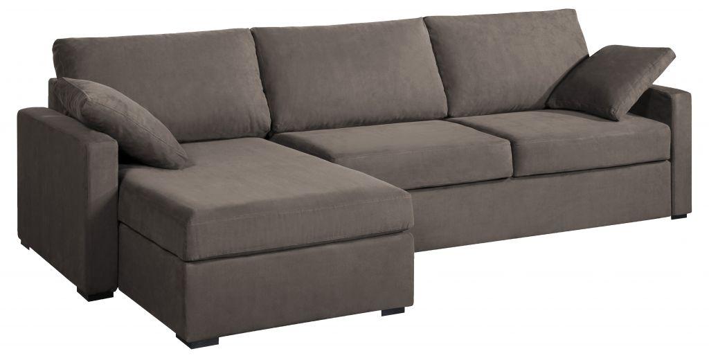 Canapé d'angle tissu taupe OSMAN fixe ou convertible Home Spirit
