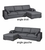 Canapé d'angle gris TENERIFE, Home Spirit fixe ou convertible