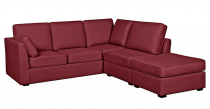 Canapé rouge d'angle tissu CHARLOTTE fixe ou convertible Home Spirit