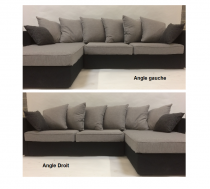 Canapé d\'angle tissu NEW YORK fixe Home Spirit