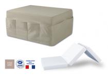 Pouf pocket-lit en tissu