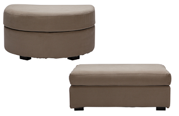 pouf tissu elementaire arrondi ou rectangulaire home spirit. Black Bedroom Furniture Sets. Home Design Ideas